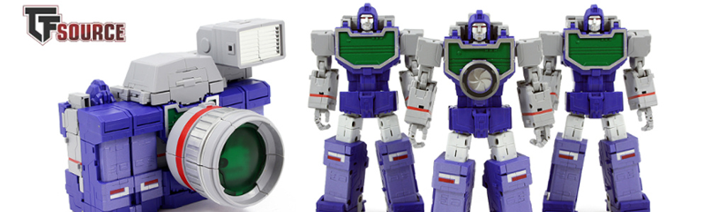 Now instock - Fans toys Spotter!Spotter is spot-on and features an arsenal of weaponry and even includes a mini non-transforming camera he can hold!  Order yours at TFSource today!