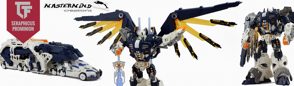 Mastermind Creations Latest Masterpiece Arrives! Reformatted Seraphicus Prominon power robot and core robot combine together to form fully armored mode!  Bonus early bird swords included, order yours at TFSource today!