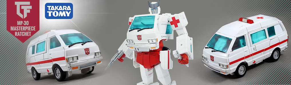 MP-30 Masterpiece Ratchet has Arrived! If anything is broke, the autobots resident medic knows howt to fix it!  Transforms from robot to ambulance and back and includes weaponry and medical tools, order yours at TFSource today!