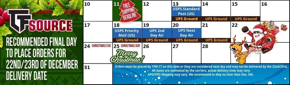 Holiday Shipping Guide The holiday shipping calendar is helper to a stress-free holiday season. Use the calendar as a general guideline for when your orders should be placed in order to arrive before Christmas.