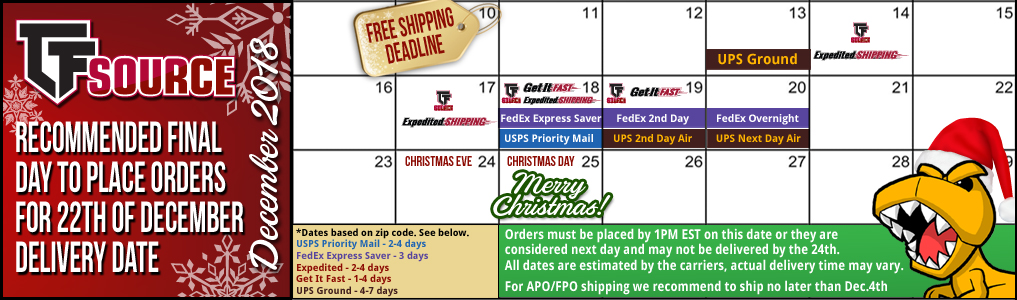 Holiday Shipping Calendar Christmas is almost here! Refer to this calendar as a general guideline of when orders need to be placed to arrive before Christmas. Be sure to refer to the specific deadlines for each shipping method during checkout.