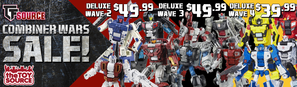 TFSource's Combiner War Sale is now live! Pick up deluxe wave 2, 3 and 4 saving $16-26 per set of four!  Save BIG on Combiner Wars at TFSource today!