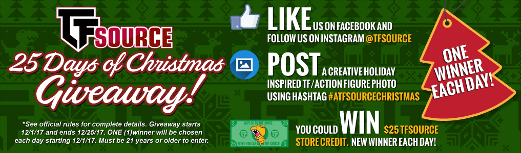 25 Days of Christmas Giveaway!Celebrate the holiday season with a daily chance to win $25 of TFSource Store Credit! One winner will be chosen daily starting December 1st thru December 25th! 25 Days! 25 Winners! #aTFSourceChristmas