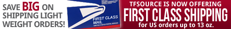 TFsource is now offering First Class Mail options on lower weight purchases within the US!