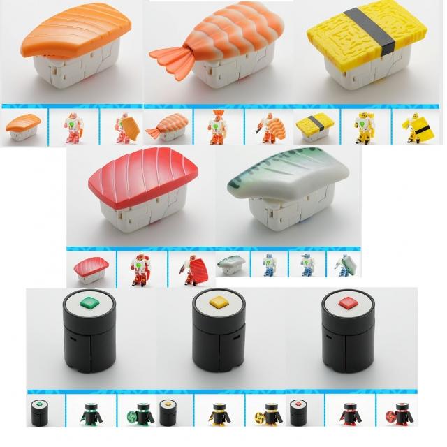 Transforming Sushi - Osushi Sentai Sharida - Series 01 - Set of 8 Figures