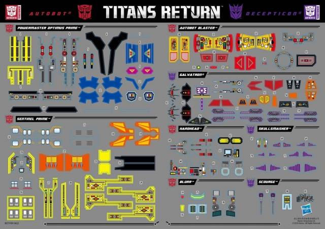 Titans Return - Exclusive Sticker Set 1 - Powermaster Optimus Blaster Galvatron