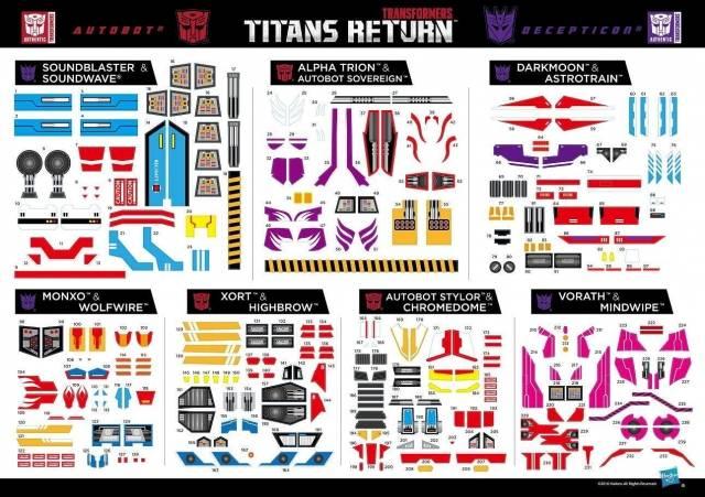 Titans Return - Exclusive Sticker Set 2 - Soundwave Astrotrain Alpha Trion