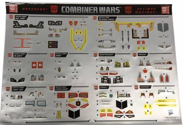 Combiner Wars - Exclusive Sticker Set - Defensor Set