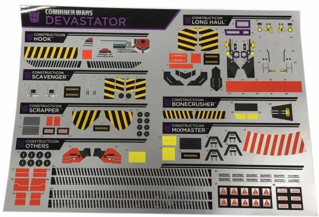 Combiner Wars - Exclusive Sticker Set - Devastator Set