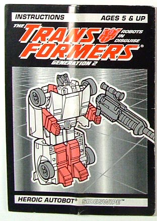 Instruction Manual - Sideswipe - G2 - Grade B