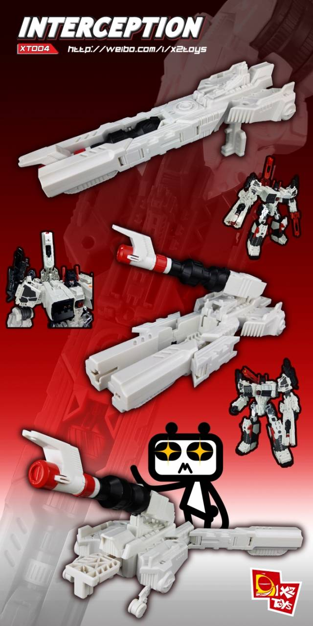 X2 Toys - XT004 Interceptor Kit - Add on Transforming Gun for Titan Metroplex - White Version