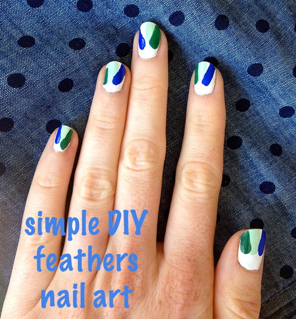 How to do an easy nail art manicure via That Redhead. Simple DIY Feathers Tutorial.