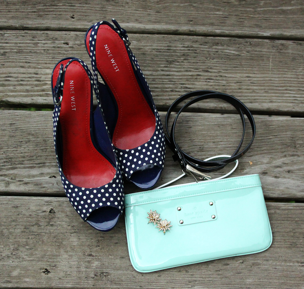 Nine West polka dot heels, Kate Spade wristlet, J Crew earrings | That Redhead
