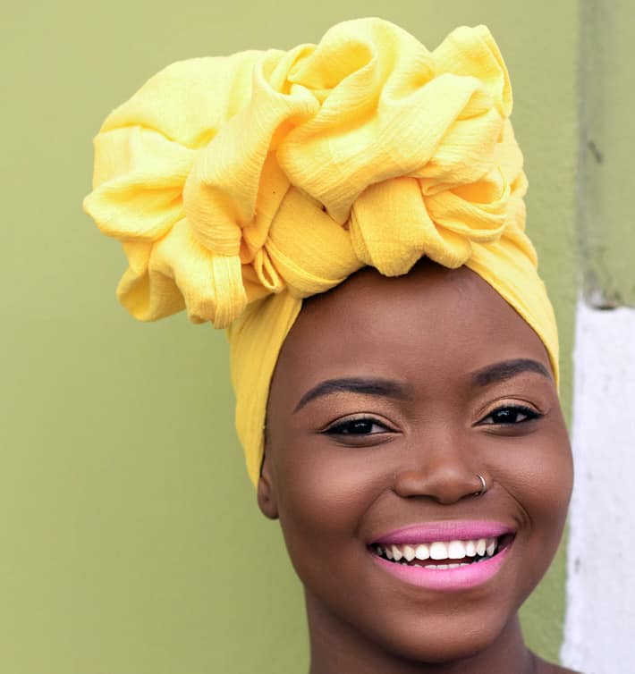 Yellow summer wrap for your head
