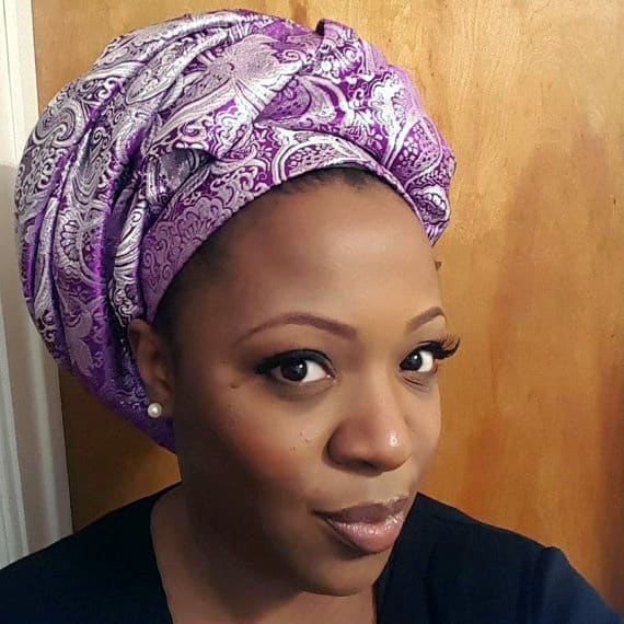 Purple and silver sleeping night time head wrap