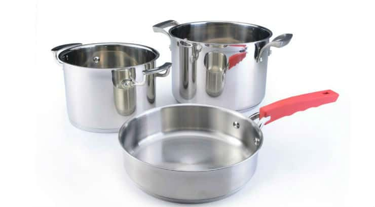 Two cooking pots and one pan