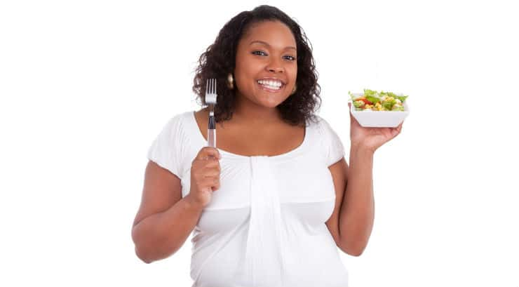 Black lady eating healthy for a better body