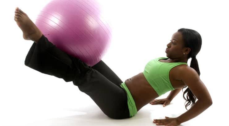Black Woman With Exercise Ball