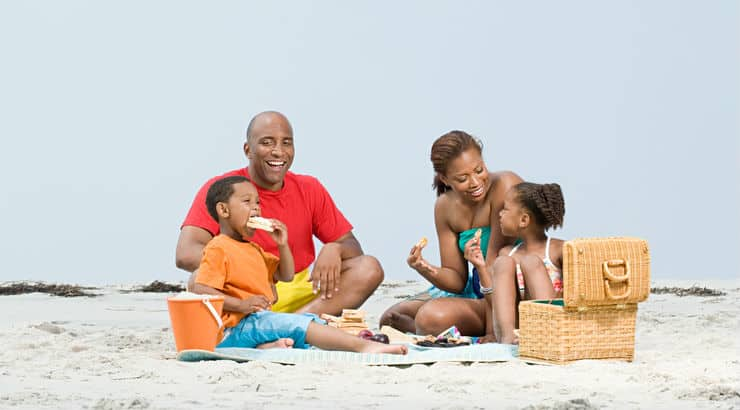 An African American family on a vacation