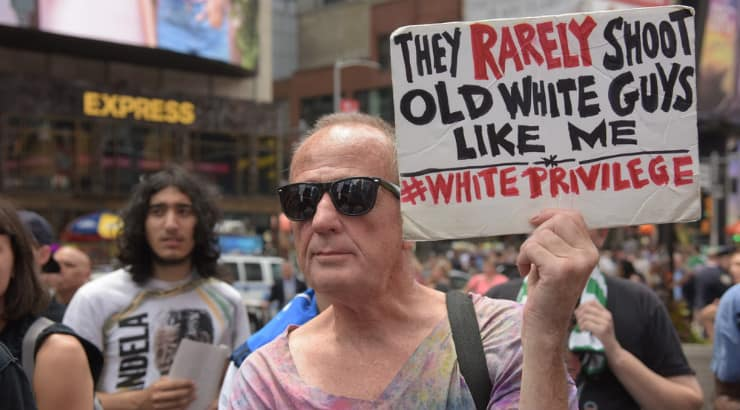 Old white man at a BLM campaign, he knows how to support