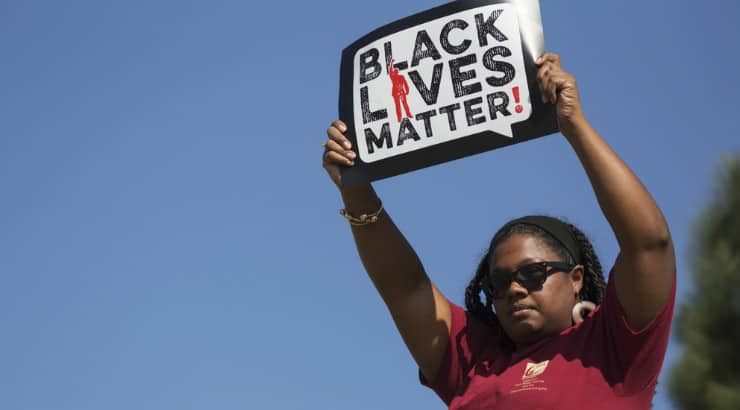 A black woman supporting black lives matter