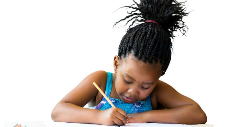 A picture of a black girl writing on Instagram