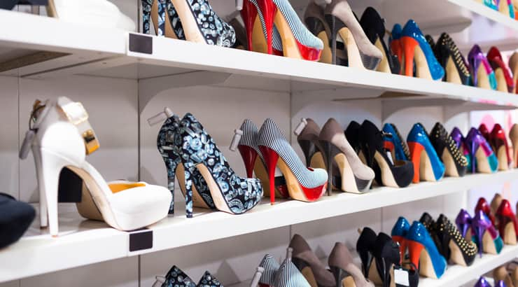 A picture of shoes in a closet