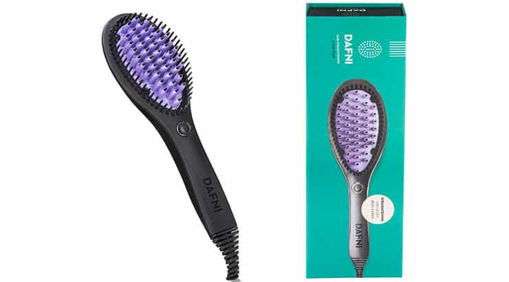 Black woman with DAFNI, The Original Hair Straightening Ceramic Brush