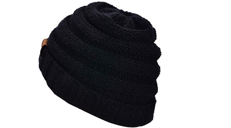 Natural women can achieve buns or ponytails with this beanie.