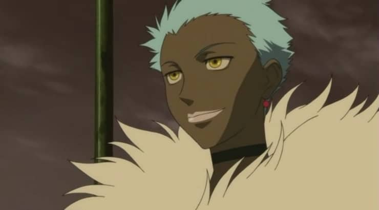 April is a black anime girl from Darker Than Black with dark skin and striking blue hair.