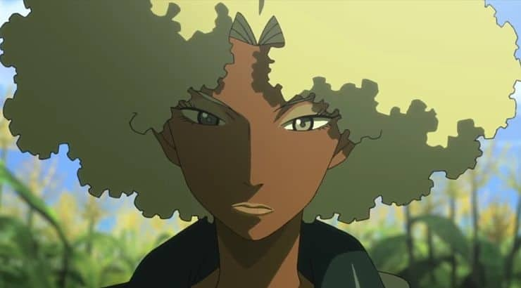 Atsuko is an Afro-Brazilian character in Michiko to Hatchin with deep skin and blonde hair.