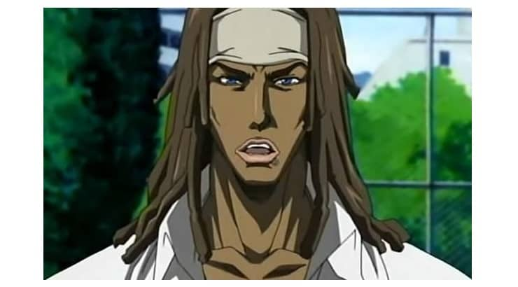 "Bob Makihara is a black anime character with dreadlocks that appears on the series ""Tenjou Tenge."""