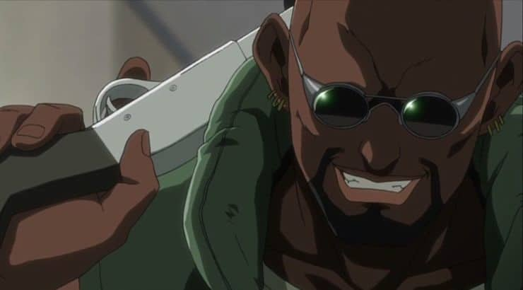 "Dutch is a black anime character from the United States who appears in the series ""Black Lagoon."""
