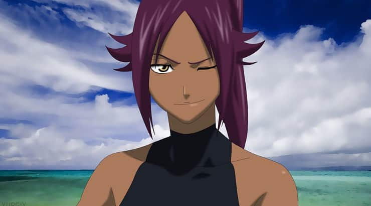 "Yoruichi appears as a protagonist in the popular anime series ""Bleach."""