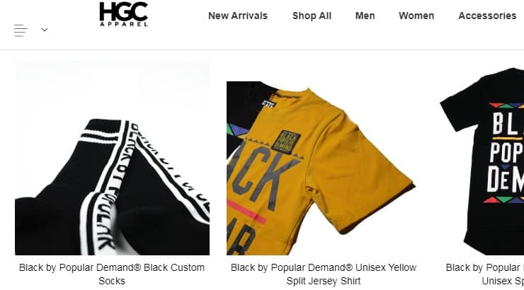 "HGC is a popular internet brand known for their ""Black by Popular Demand"" Shirt."
