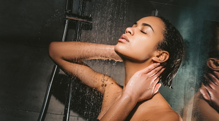 Black Girl Showering And Conditioning Her Hair