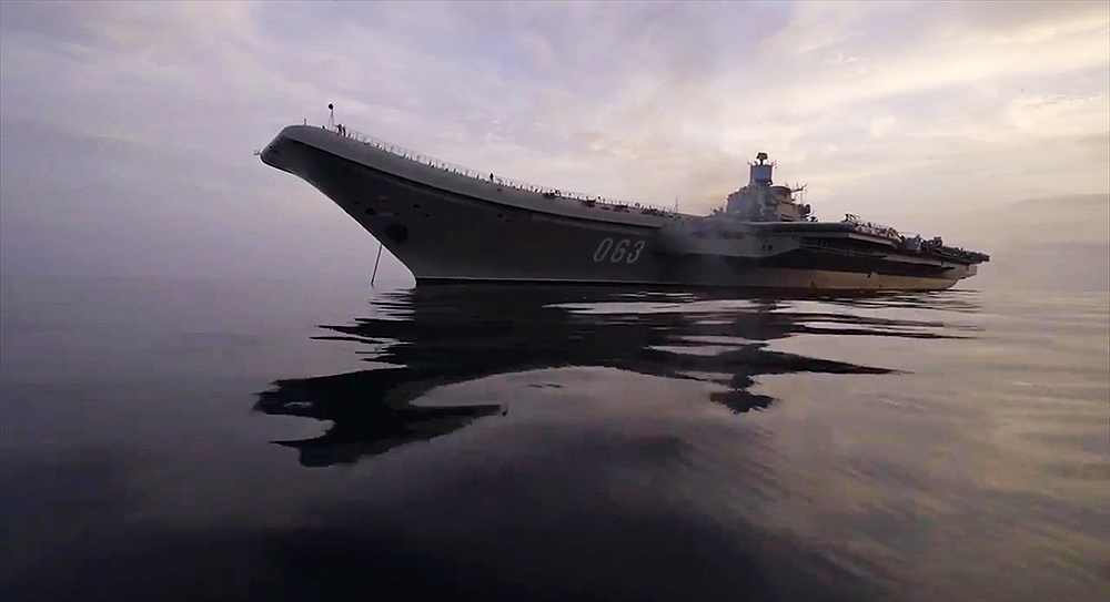 The Admiral Kuznetsov anchored somewhere off Syria- AP photo