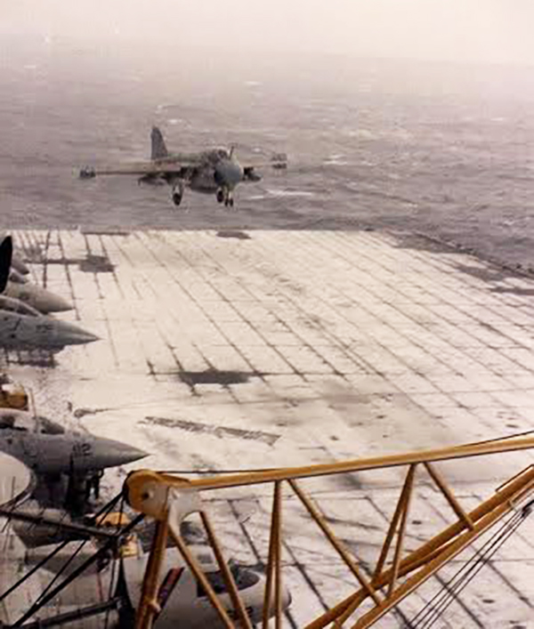 A-6E landing aboard the USS Carl Vinson after a snow storm in 1987.