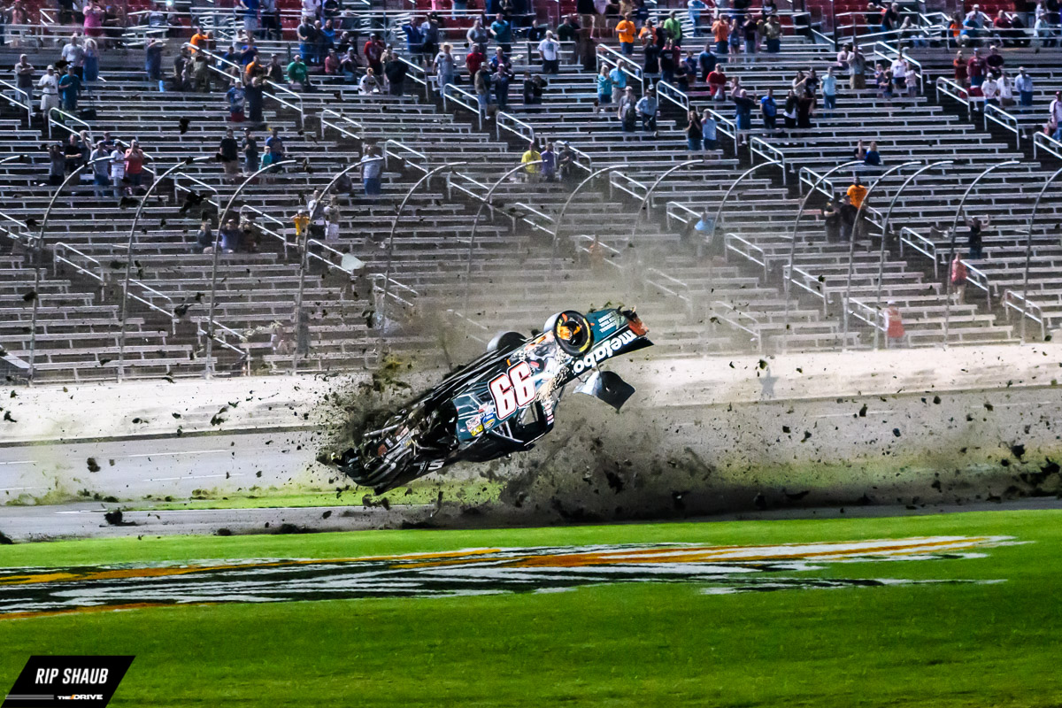 Timothy Peters has a harrowing crash on the second to the last lap of the winstaronlinegaming.com 400 at Texas Motor Speedway.