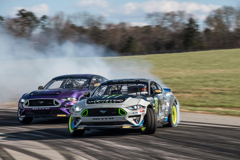 Vaughn gittin jr and chelsea denofa unveil 2018 mustang rtr formula drift competitors