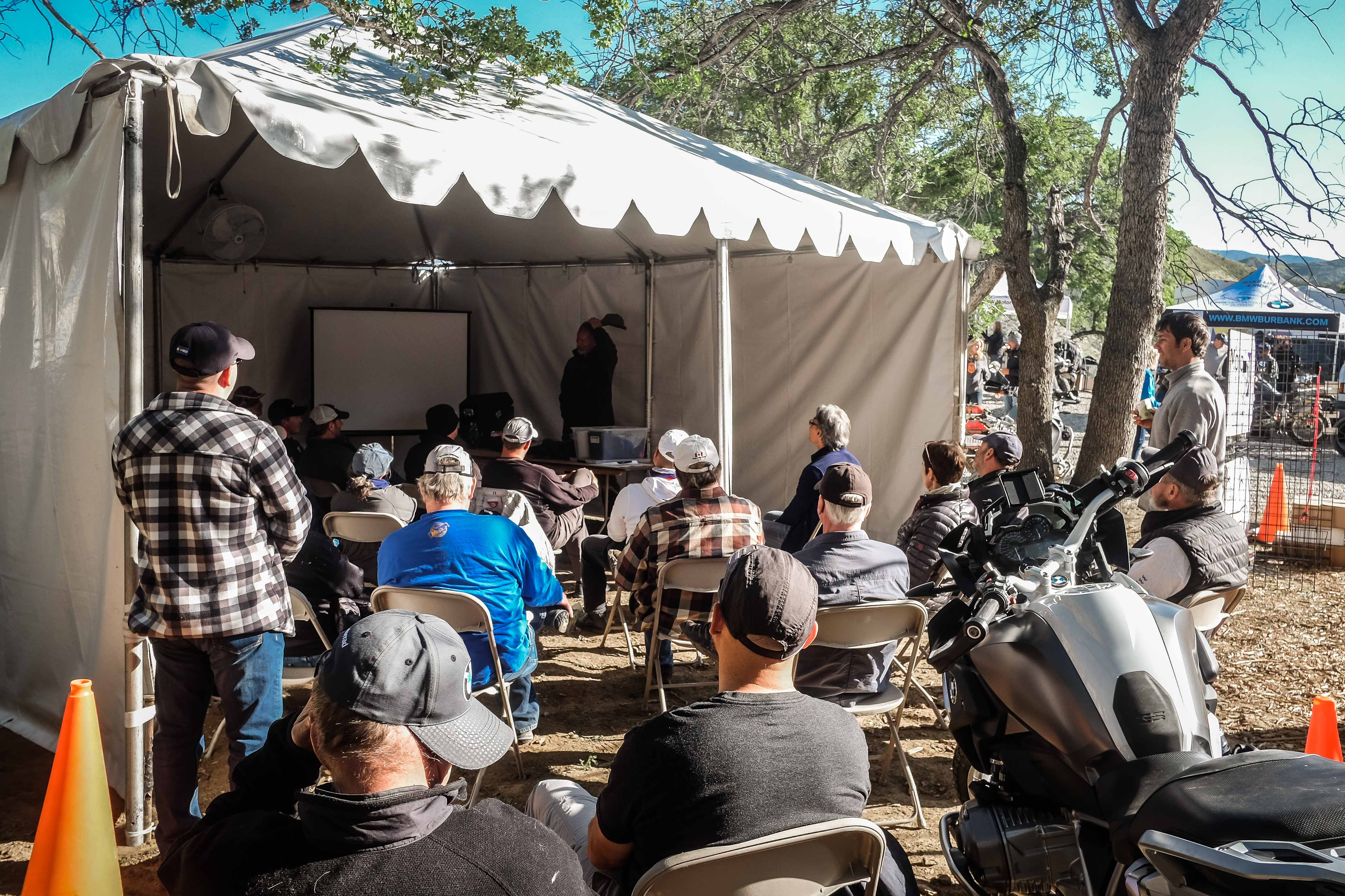 Classroom clinics are presented throughout the property. Here attendees are learning about the art of packing an adventure motorcycle for extended trips.