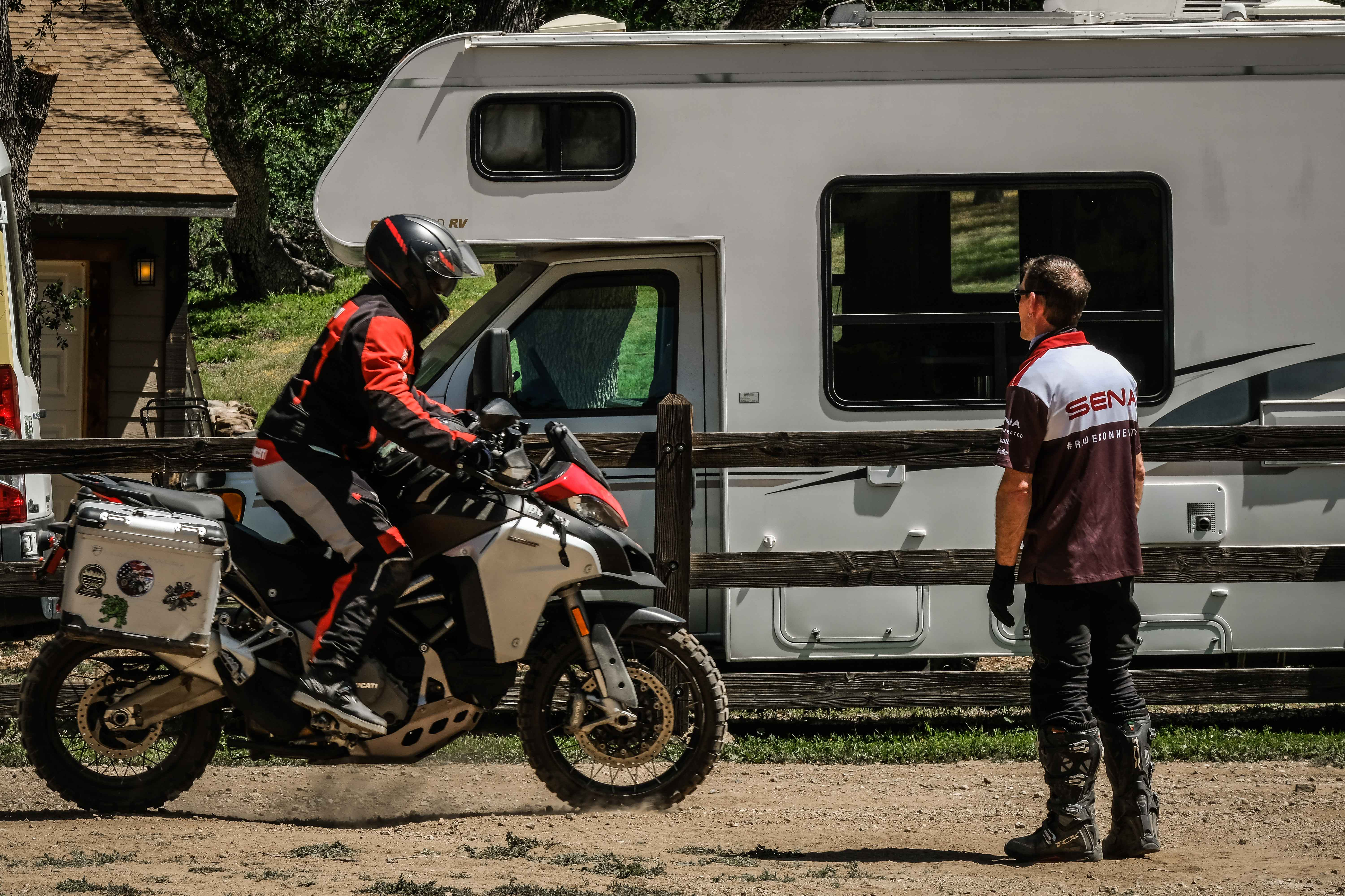 A student attempts an emergency stop on his Ducati Multistrada Endruo