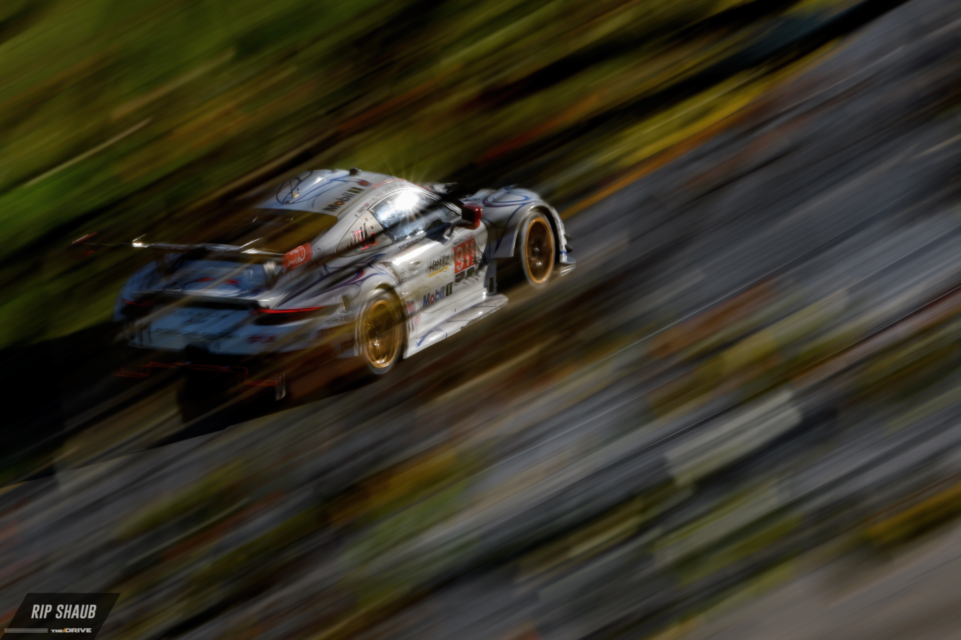 Porsche GT's factory entry through the trees above Turn 5.