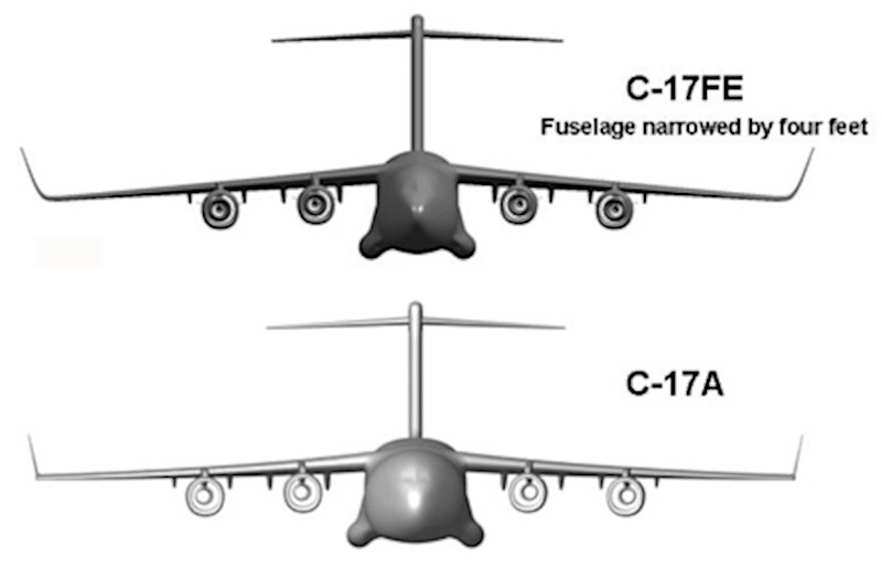Concept art from 2010 showing the proposed C-17 Fuel Efficient, or C-17FE, as compared to the original C-17A.