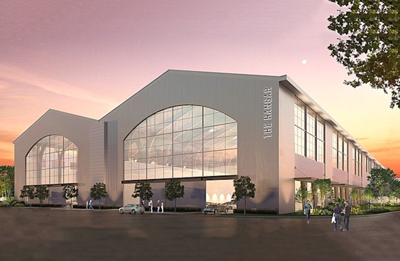 An artist's conception of how the hangar where Hughes Aircraft built the Spruce Goose might look after becoming