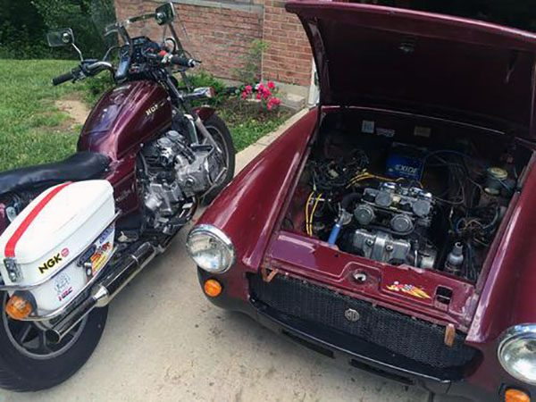 This Mg Midget Is Powered By A V 4 Honda Motorcycle Engine The Drive