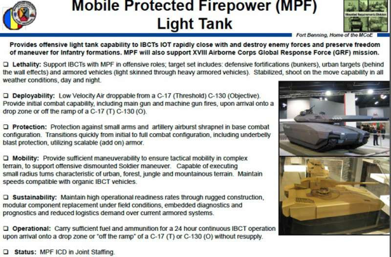 A briefing slide showing early MPF program requirements, some of which have already changed.