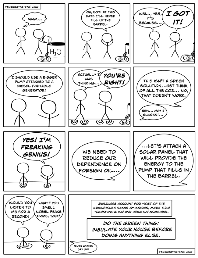 Figure 1.1: A comic strip I did back in 2009 for Blog Action Day.
