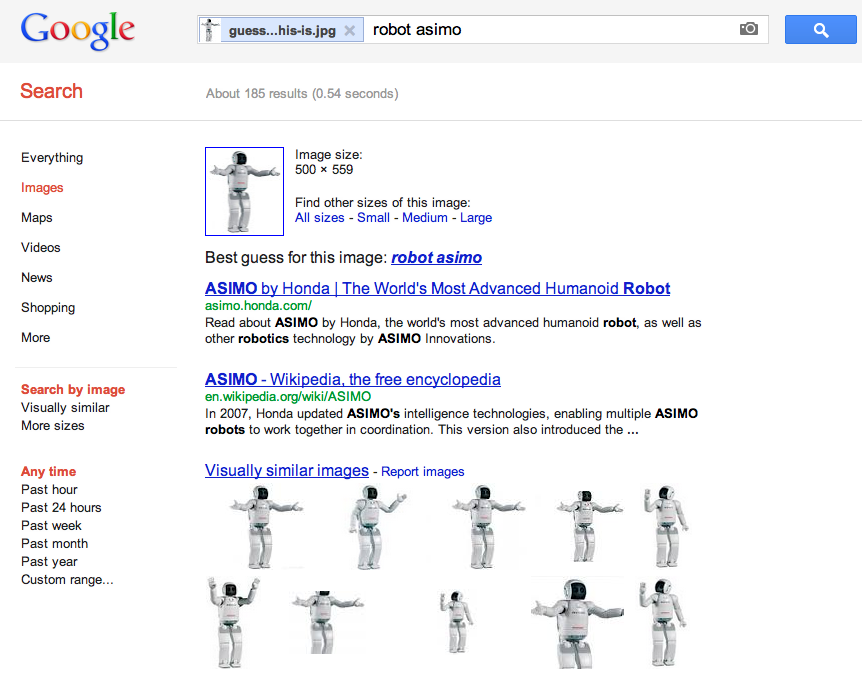 Figure 1.3: The software correctly recognises it as the Robot ASIMO by Honda, and offers similar images in return.