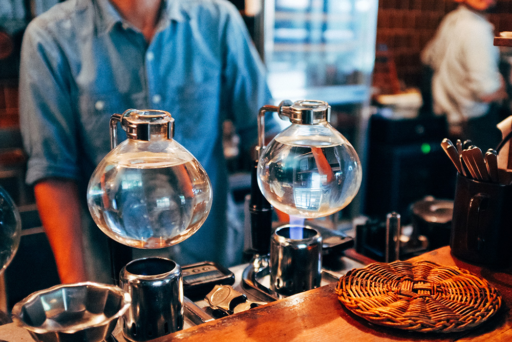 Inside Bird Coffee, heating the hot water for their specialist coffee.